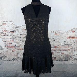 Karen Millen 6 Black Gold Metallic Drop Waist Dres